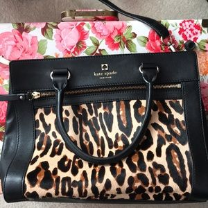 Kate Spade Black leather with Cheetah print